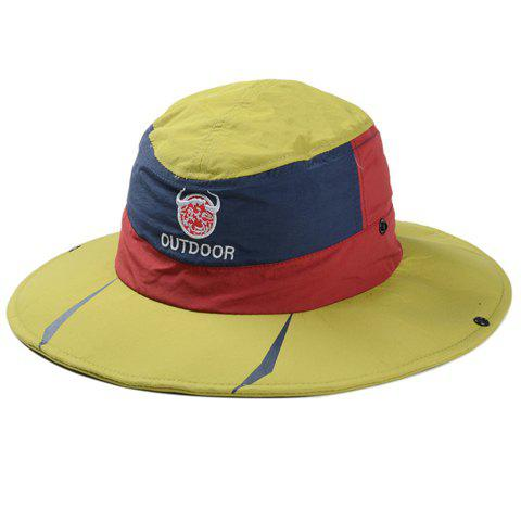 Stylish Embroidery Multicolor Men and Women's Sun Hat - BLUISH YELLOW