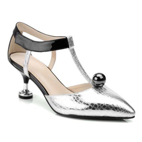 Stylish Stone Pattern and T-Strap Design Women's Pumps - SILVER 36