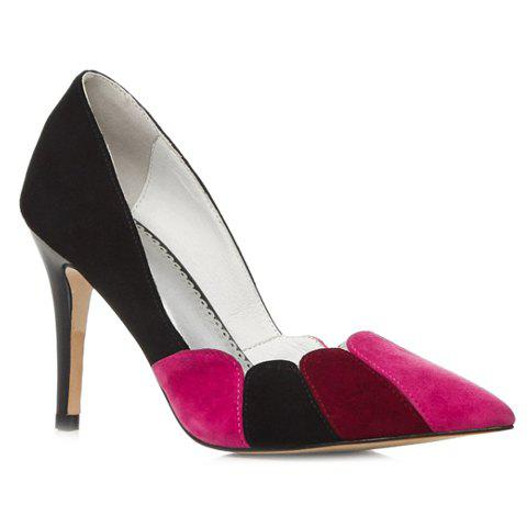 Stylish Suede and Colour Block Design Women's Pumps - BLACK 36