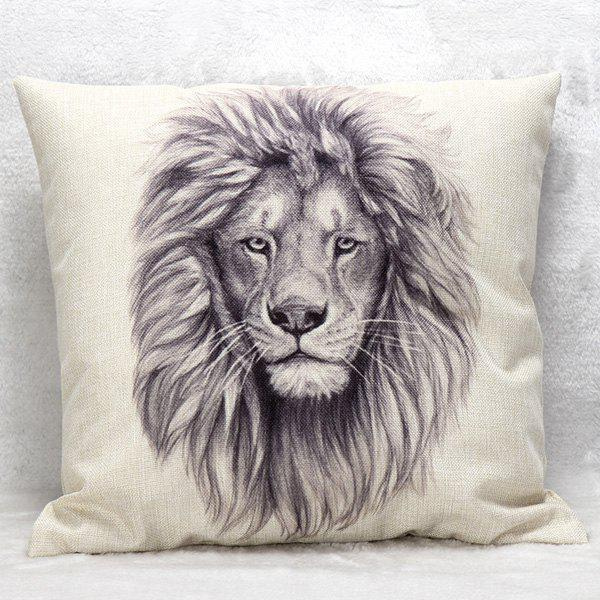 High Quality Lion Pattern Square Shape Pillow Case(Without Pillow Inner) - WHITE/BLACK