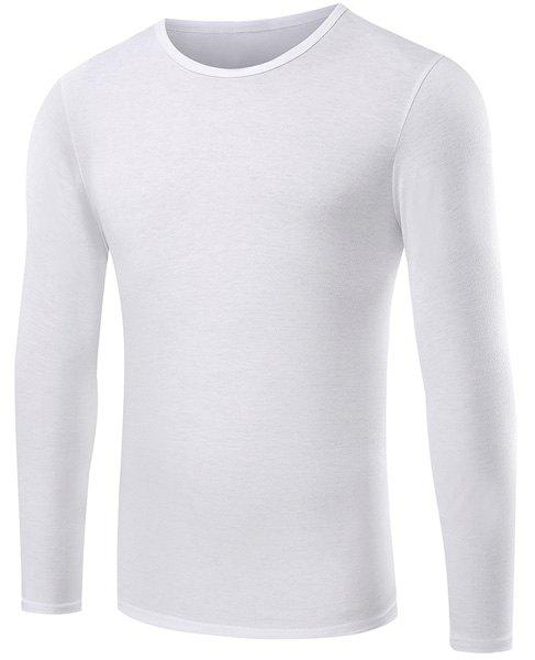 Round Neck Slimming Solid Color Long Sleeve Men's T-Shirt - WHITE 2XL