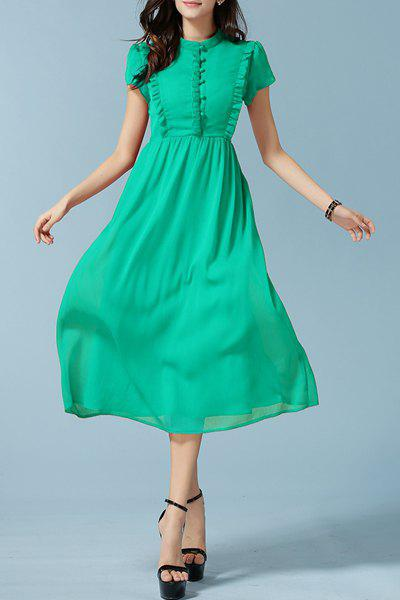 Stylish Women's Stand Collar Short Sleeve Ruffled Midi Dress - GREEN 3XL