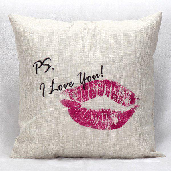 High Quality Lips Pattern Square Shape Pillow Case(Without Pillow Inner)