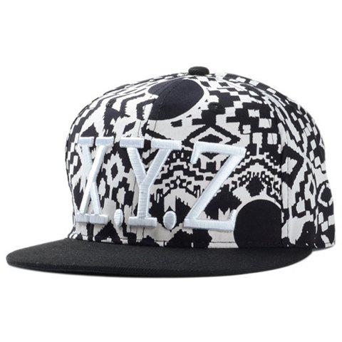 Stylish Letter Embroidery Geometric Pattern Men's Baseball Cap - BLACK