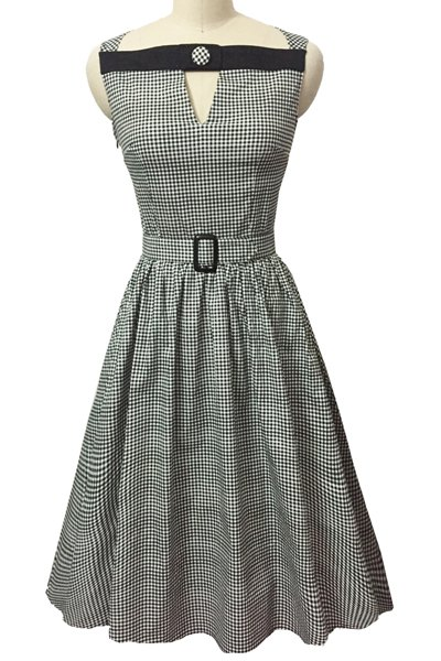 Retro Style Slash Neck Sleeveless Gingham Belted Women's Dress