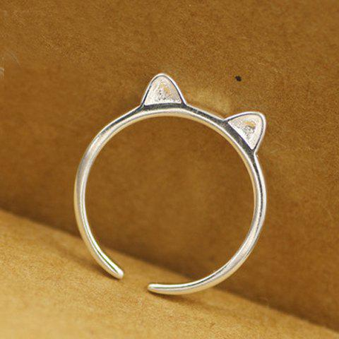 Alloy Cat Ear Shape Cuff Ring - SILVER ONE-SIZE