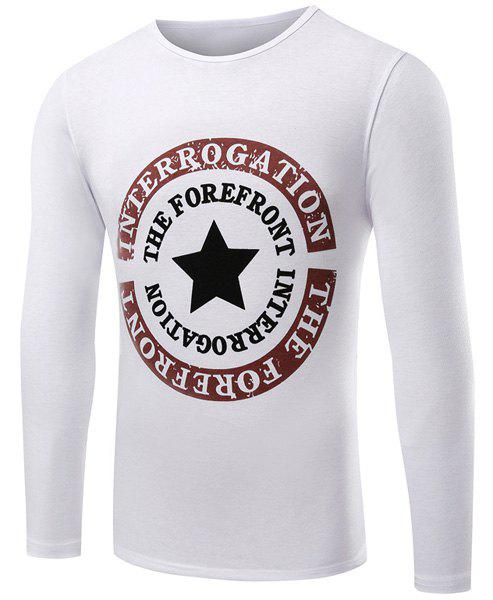 Casual Round Neck Star Pattern Letters Print Long Sleeve Men's T-Shirt - WHITE M