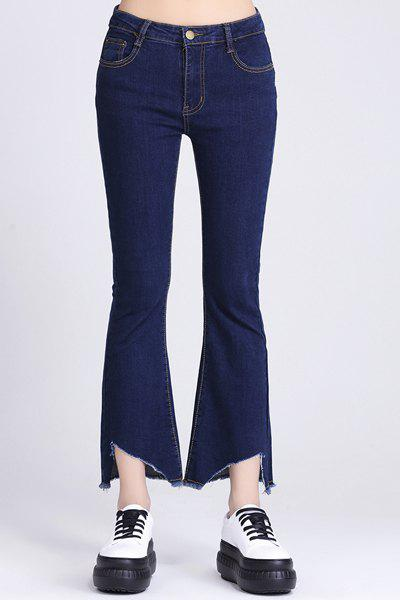 Chic Mid-Waist Solid Color Asymmetrical Jeans For Women - DEEP BLUE M