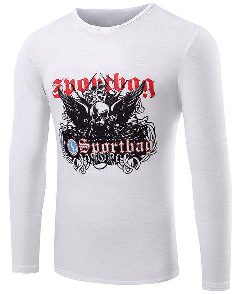 Casual Round Neck Skull Pattern Letters Print Long Sleeve Men's T-Shirt - WHITE M