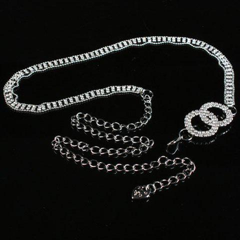 Chic Hollow Out Rhinestone Inlay Alloy Women's Waist Chain - SILVER