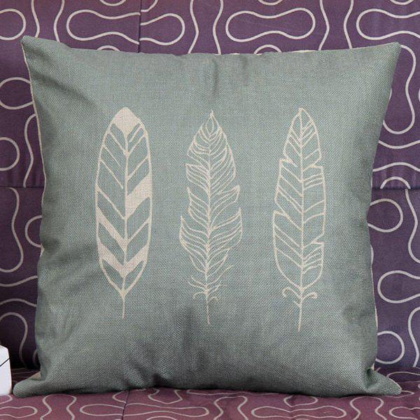 High Quality White Feathers Printed Square Shape Pillow Case(Without Pillow Inner) - COLORMIX