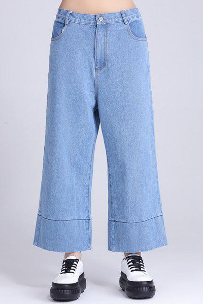 Casual Loose-Fitting Ninth Jeans For Women - BLUE M
