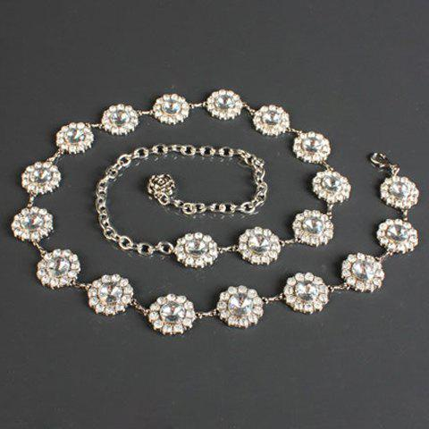Chic Alloy Rhinestone Inlay Floral Shape Women's Waist Chain - TRANSPARENT