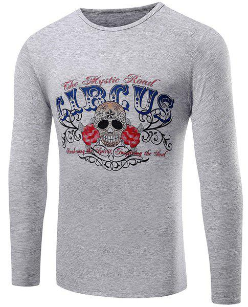 Casual Round Neck Skull Flowers Pattern Long Sleeve Men's T-Shirt - GRAY M