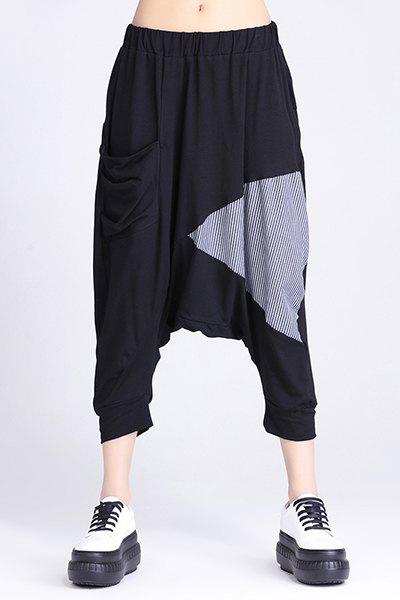 Casual Elastic Waist Striped Spliced Harem Pants For Women - BLACK ONE SIZE(FIT SIZE XS TO M)