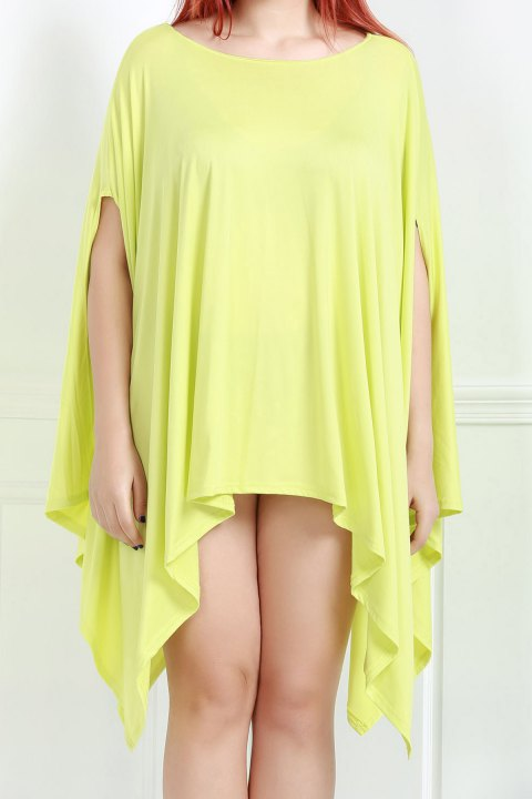 Handkerchief Plus Size Caped Top with Batwing Sleeve - LEMON YELLOW S