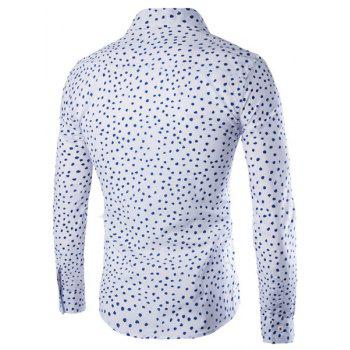 Slimming Shirt Collar Color Block Dot Print Men's Long Sleeves Shirt - WHITE 2XL