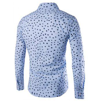 Slimming Shirt Collar Color Block Dot Print Men's Long Sleeves Shirt - LIGHT BLUE 2XL