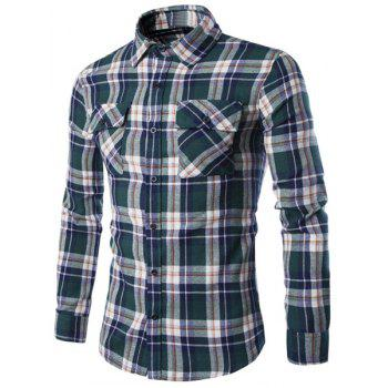 Double Flap Pocket Letters Number Pattern Shirt Collar Long Sleeves Men's Plaid Shirt