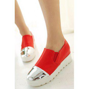 Casual Color Block and Elastic Design Platform Shoes For Women - RED 34