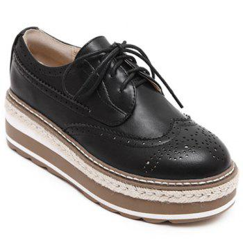 British Style Lace-Up and Engraving Design Platform Shoes For Women - BLACK 38