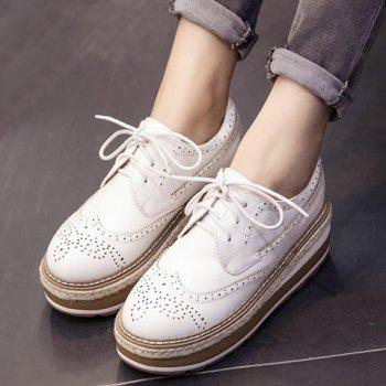 British Style Lace-Up and Engraving Design Platform Shoes For Women - WHITE 38
