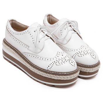 British Style Lace-Up and Engraving Design Platform Shoes For Women - WHITE WHITE