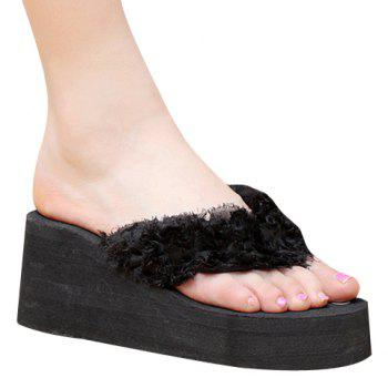 Leisure Flip Flop and Cloth Design Women's Slippers - BLACK 39