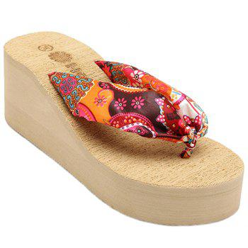 Casual Satin and Floral Print Design Women's Slippers