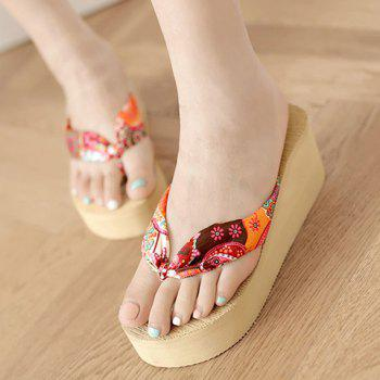 Casual Satin and Floral Print Design Women's Slippers - 36 36