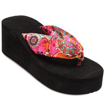 Casual Satin and Floral Print Design Women's Slippers - BLACK 37