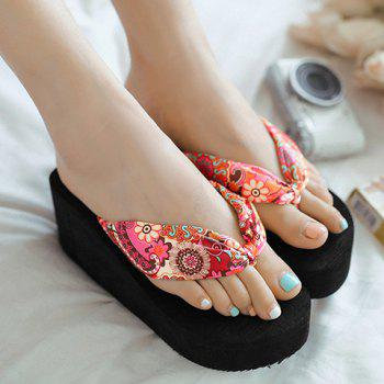 Casual Satin and Floral Print Design Women's Slippers - 37 37