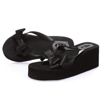 Sweet Platform and Bow Design Women's Slippers - 36 36