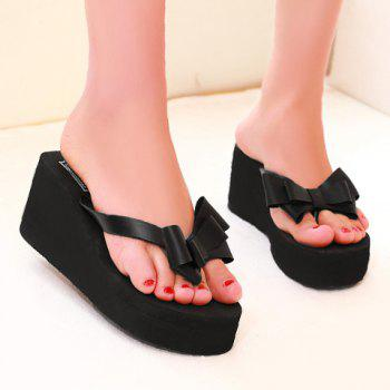 Sweet Platform and Bow Design Women's Slippers - 37 37