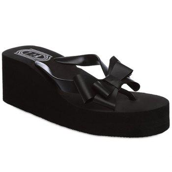 Sweet Platform and Bow Design Women's Slippers - BLACK 37