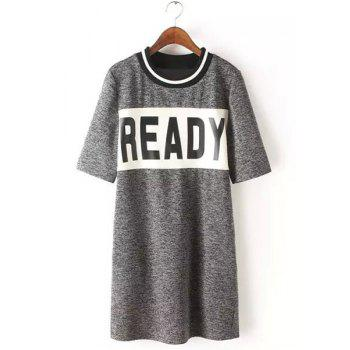 Fresh Style Striped Jewel Neck 1/2 Sleeve Letter Printed T-Shirt Dress For Women