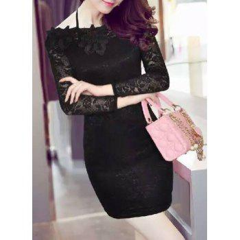 Alluring Women's Off-The-Shoulder Lace Long Sleeve Dress