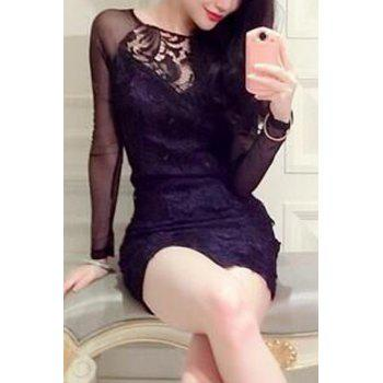 Round Collar See Through Long Sleeve Dress For Women