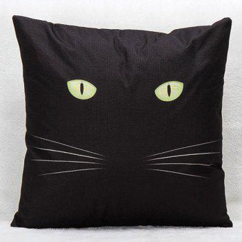 High Quality Black Cat Pattern Printed Square Shape Pillow Case(Without Pillow Inner)