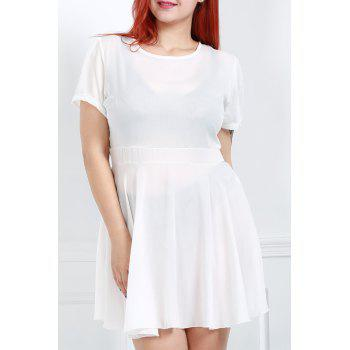 Endearing White Jewel Neck Short Sleeve High Waist Ruffled Plus Size Dress For Women