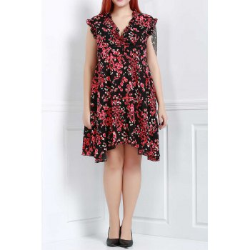 Graceful Sleeveless V-Neck Chiffon Tiny Floral Print Dress For Women - RED 3XL