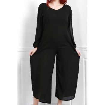 Stylish V-Neck Long Sleeve Plus Size Cut Out Women's Jumpsuit