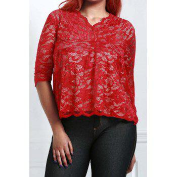 Stylish Half Sleeve V-Neck Plus Size Lace Women's Blouse