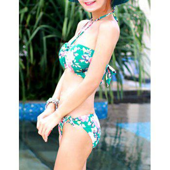 Sweet Women's Halter Floral Printed Bikini Set - GREEN GREEN