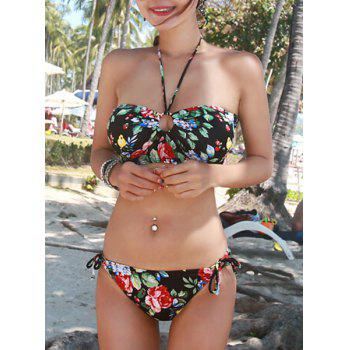 Sweet Women's Halter Floral Printed Bikini Set - BLACK XL