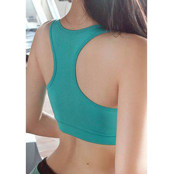 U-Neck Sleeveless Slimming Racerback Sports Bra - BLUE XL