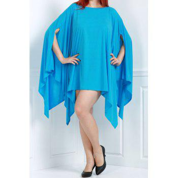 Handkerchief Plus Size Caped Top with Batwing Sleeve
