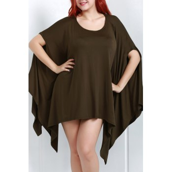 Handkerchief Plus Size Caped Top with Batwing Sleeve - BLACKISH GREEN L