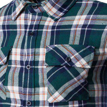 Double Flap Pocket Letters Number Pattern Shirt Collar Long Sleeves Men's Plaid Shirt - GREEN 2XL