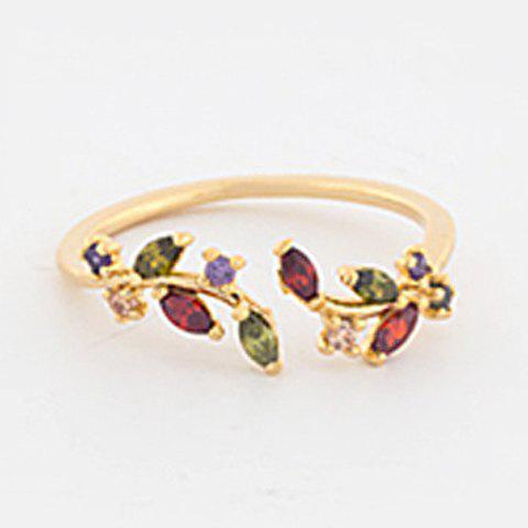 Chic Colorful Rhinestone Leaf Shape Cuff Ring For Women - GOLDEN ONE-SIZE